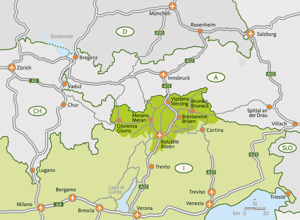 Map - Travel to Bolzano